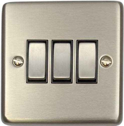 G&H CSS303 Standard Plate Brushed Steel 3 Gang 1 or 2 Way Rocker Light Switch